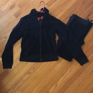 Mossimo black velour track suit